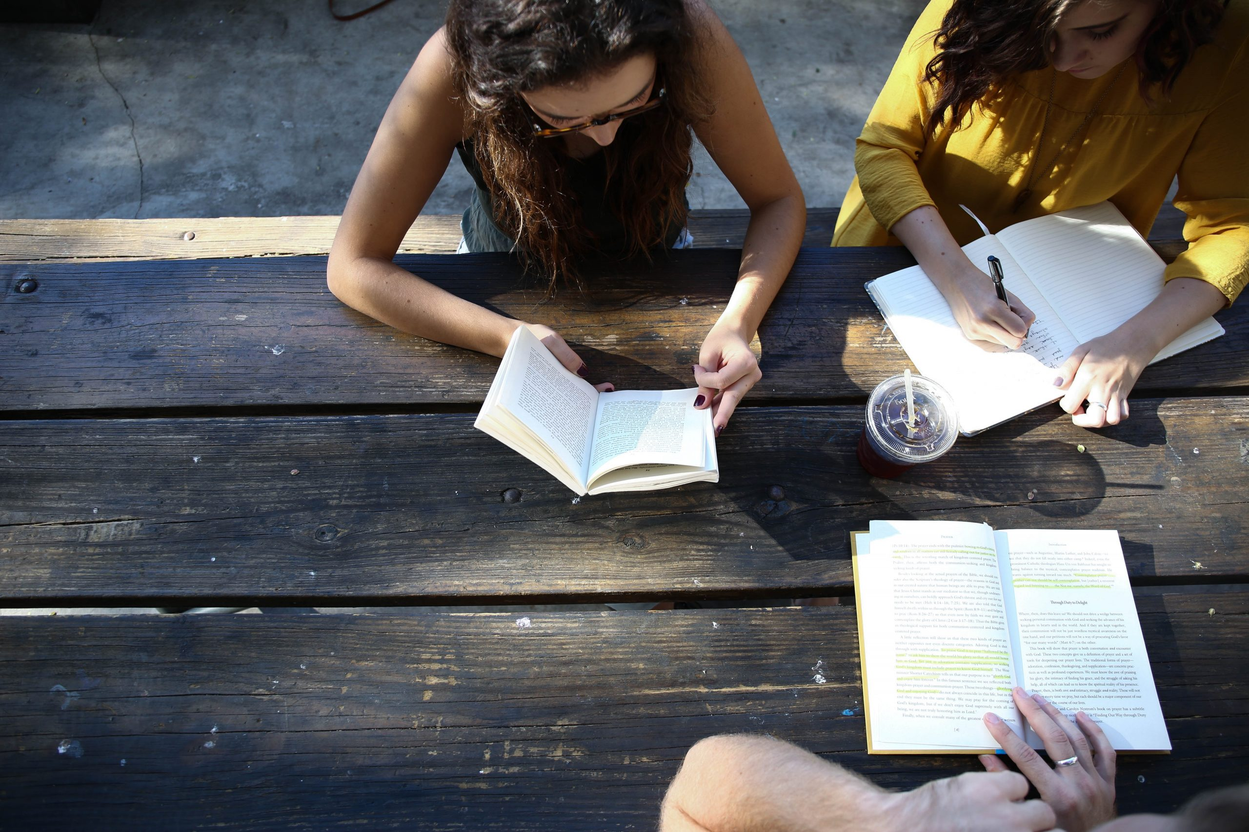 Girl studying with friends